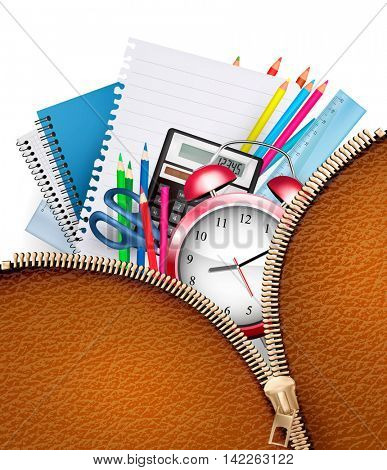 Education background with school supplies and open zipper Vector