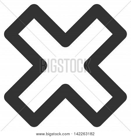 Delete X-Cross vector icon. Style is outline flat icon symbol, gray color, white background.