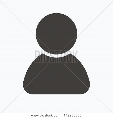 User icon. Human person symbol. Avatar login sign. Gray flat web icon on white background. Vector