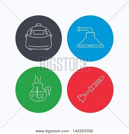 Coffee, kitchen hood and blender icons. Multicooker linear sign. Linear icons on colored buttons. Flat web symbols. Vector