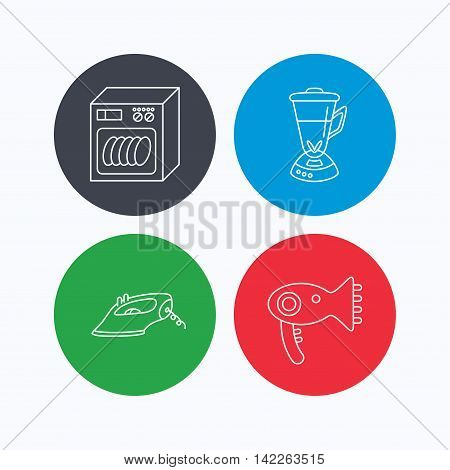 Dishwasher, hairdryer and mixer icons. Iron linear sign. Linear icons on colored buttons. Flat web symbols. Vector
