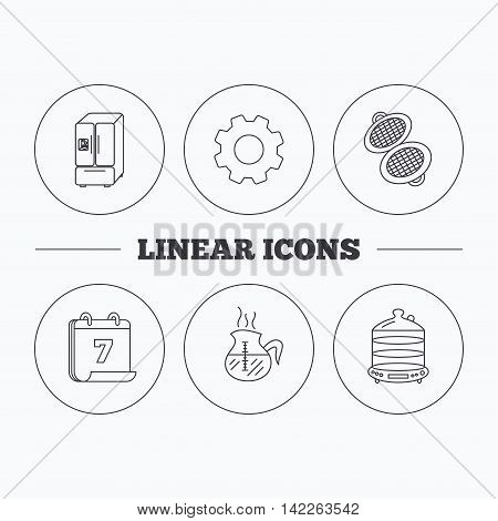 Waffle-iron, coffee and steamer icons. American style fridge linear signs. Flat cogwheel and calendar symbols. Linear icons in circle buttons. Vector