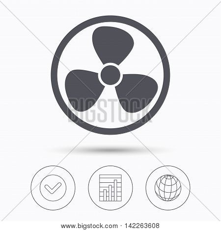 Ventilation icon. Air ventilator or fan symbol. Check tick, graph chart and internet globe. Linear icons on white background. Vector