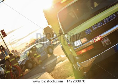 An accident scene on the road of a country.