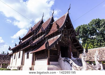 Wat Ton Kain, Old wood chapel in Chiang Mai Thailand