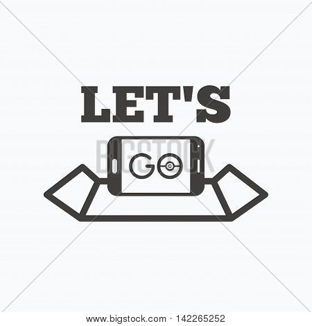 Smartphone icon. Let's Go symbol on map. Pokemon game concept. Gray flat web icon on white background. Vector