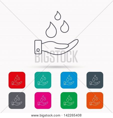 Save water icon. Hand with water drops sign. Ecology environment symbol. Linear icons in squares on white background. Flat web symbols. Vector