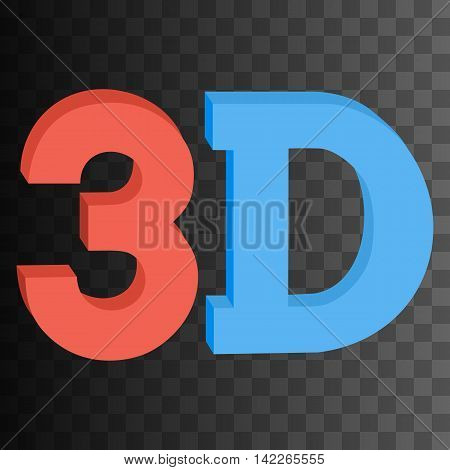 3D three-dimensional button sign in solid red and blue colors icon on black transparent background. Vector illustration.