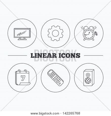 TV remote, alarm clock and sound icons. Widescreen TV linear sign. Flat cogwheel and calendar symbols. Linear icons in circle buttons. Vector