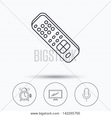 Microphone, alarm clock and TV remote icons. Widescreen TV linear sign. Linear icons in circle buttons. Flat web symbols. Vector