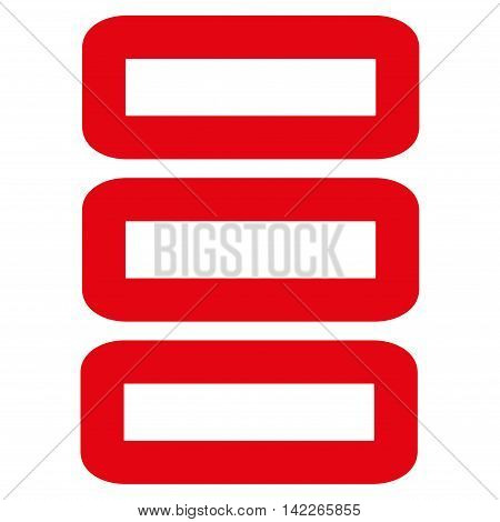 Database vector icon. Style is stroke flat icon symbol, red color, white background.