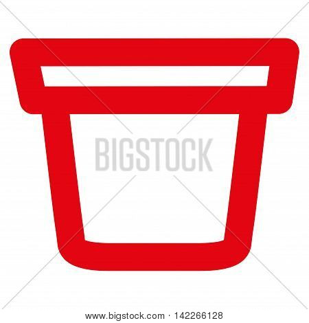Pail vector icon. Style is contour flat icon symbol, red color, white background.