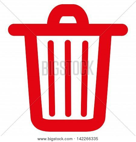 Trash Can vector icon. Style is linear flat icon symbol, red color, white background.