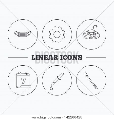 Medical mask, scalpel and pipette icons. Surgical lamp linear sign. Flat cogwheel and calendar symbols. Linear icons in circle buttons. Vector