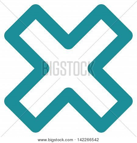 Delete X-Cross vector icon. Style is contour flat icon symbol, soft blue color, white background.