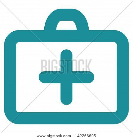 First Aid vector icon. Style is outline flat icon symbol, soft blue color, white background.