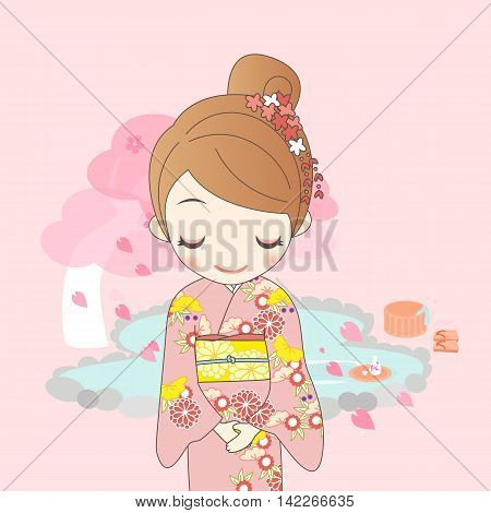 japanese girl is wear kimono with cherry blossom or sakura with hot Spring