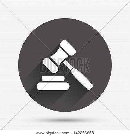 Auction hammer icon. Law judge gavel symbol. Circle flat button with shadow. Vector