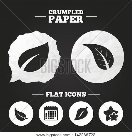 Crumpled paper speech bubble. Leaf icon. Fresh natural product symbols. Tree leaves signs. Paper button. Vector