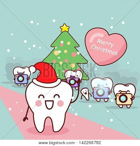 happy cartoon tooth and dentist with paparazzi in christmas