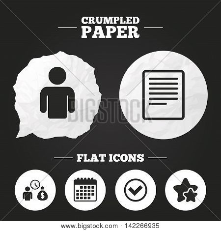 Crumpled paper speech bubble. Bank loans icons. Cash money bag symbol. Apply for credit sign. Check or Tick mark. Paper button. Vector