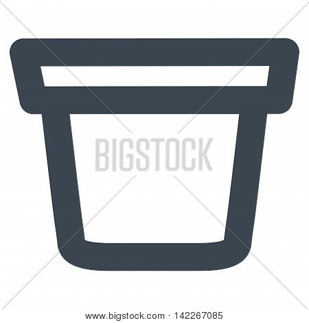 Pail vector icon. Style is linear flat icon symbol, smooth blue color, white background.