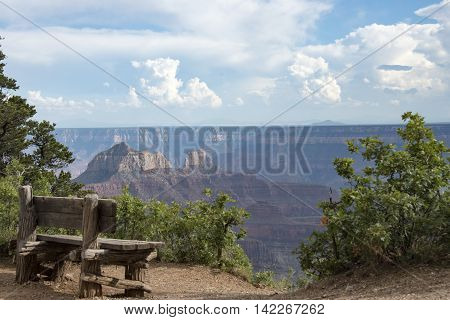 Bench on the rim of the Grand Canyon