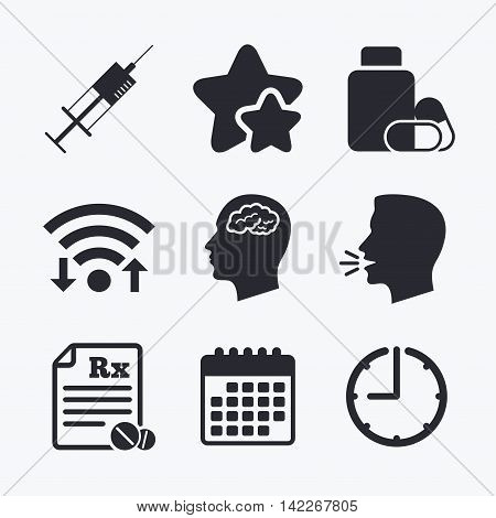 Medicine icons. Medical tablets bottle, head with brain, prescription Rx and syringe signs. Pharmacy or medicine symbol. Wifi internet, favorite stars, calendar and clock. Talking head. Vector