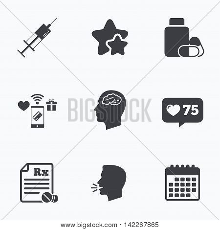 Medicine icons. Medical tablets bottle, head with brain, prescription Rx and syringe signs. Pharmacy or medicine symbol. Flat talking head, calendar icons. Stars, like counter icons. Vector