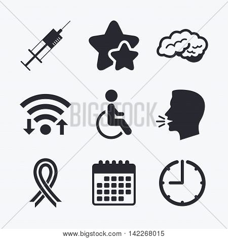 Medicine icons. Syringe, disabled, brain and ribbon signs. Breast cancer awareness symbol. Handicapped invalid. Wifi internet, favorite stars, calendar and clock. Talking head. Vector