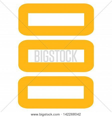 Database vector icon. Style is stroke flat icon symbol, yellow color, white background.
