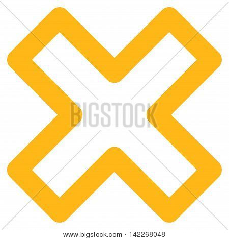 Delete X-Cross vector icon. Style is linear flat icon symbol, yellow color, white background.