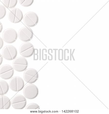 Pills isolated on a white background with space for text message.