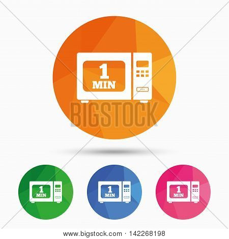 Cook in microwave oven sign icon. Heat 1 minute. Kitchen electric stove symbol. Triangular low poly button with flat icon. Vector