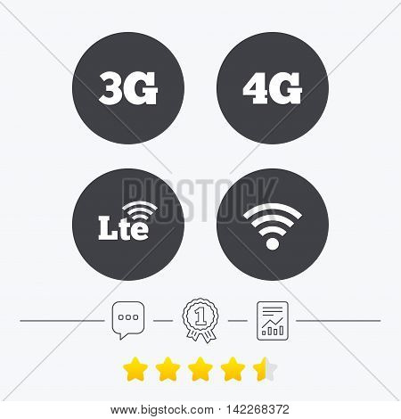 Mobile telecommunications icons. 3G, 4G and LTE technology symbols. Wi-fi Wireless and Long-Term evolution signs. Chat, award medal and report linear icons. Star vote ranking. Vector