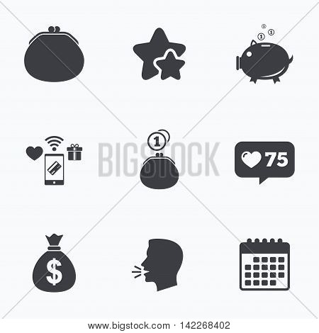 Wallet with cash coin and piggy bank moneybox symbols. Dollar USD currency sign. Flat talking head, calendar icons. Stars, like counter icons. Vector