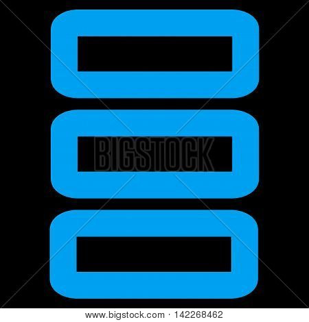 Database glyph icon. Style is contour flat icon symbol, blue color, black background.