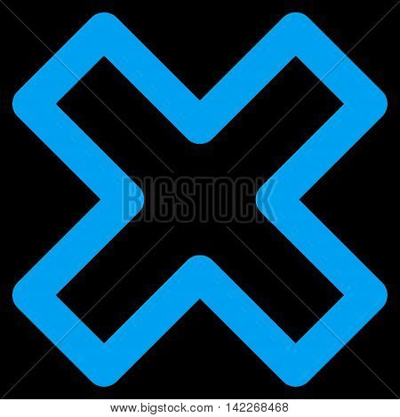 Delete X-Cross glyph icon. Style is linear flat icon symbol, blue color, black background.