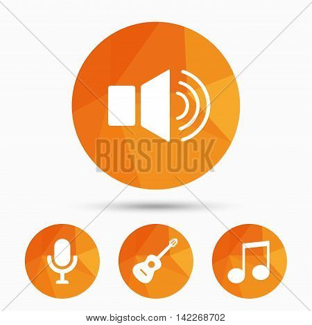 Musical elements icons. Microphone and Sound speaker symbols. Music note and acoustic guitar signs. Triangular low poly buttons with shadow. Vector