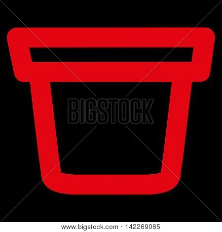 Pail glyph icon. Style is linear flat icon symbol, red color, black background.