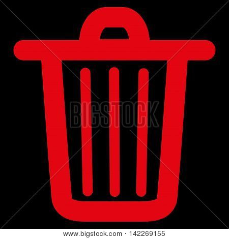 Trash Can glyph icon. Style is linear flat icon symbol, red color, black background.