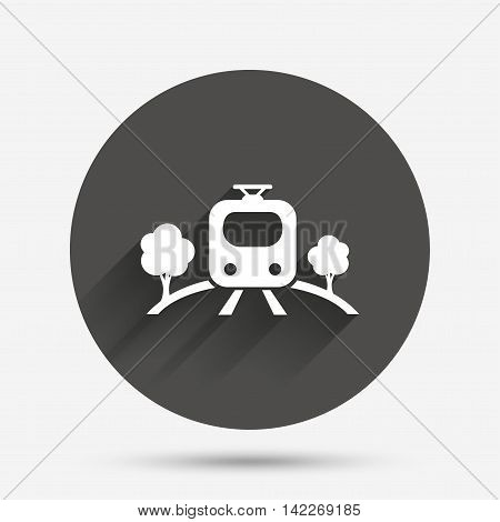 Overground subway sign icon. Metro train symbol. Circle flat button with shadow. Vector