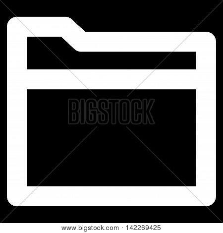 Folder glyph icon. Style is stroke flat icon symbol, white color, black background.