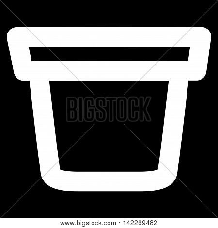 Pail glyph icon. Style is linear flat icon symbol, white color, black background.