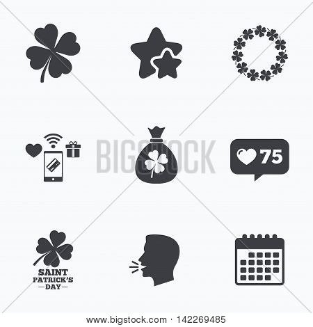 Saint Patrick day icons. Money bag with clover sign. Wreath of quatrefoil clovers. Symbol of good luck. Flat talking head, calendar icons. Stars, like counter icons. Vector