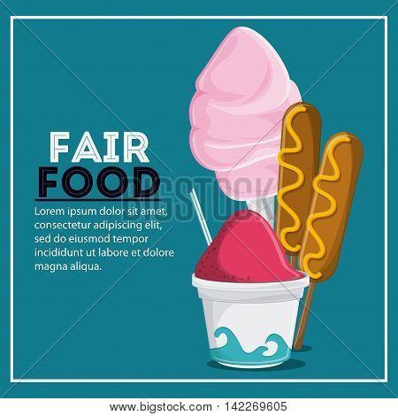 corn dog ice cream cotton candy fair food snack carnival festival icon. Colorfull illustration. Vector graphic