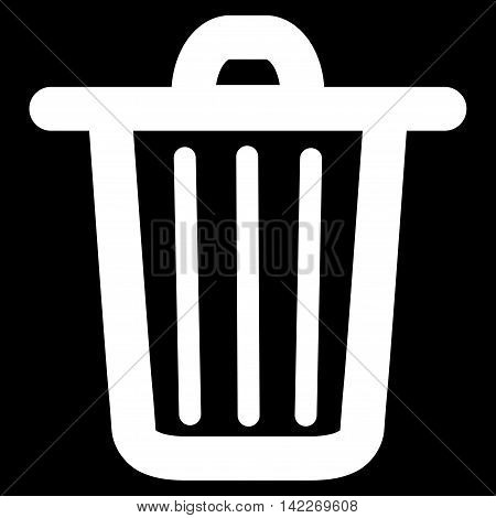 Trash Can glyph icon. Style is outline flat icon symbol, white color, black background.