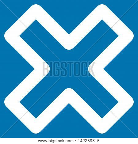 Delete X-Cross glyph icon. Style is stroke flat icon symbol, white color, blue background.