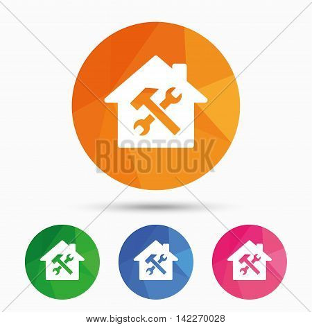 Service house. Repair tool sign icon. Service symbol. Hammer with wrench. Triangular low poly button with flat icon. Vector
