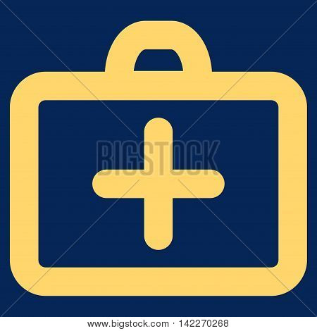 First Aid glyph icon. Style is contour flat icon symbol, yellow color, blue background.
